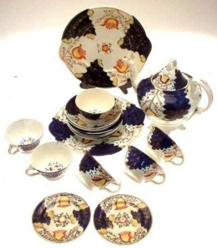 Staffordshire 35% OFF c1860 Gaudy Welsh teapot Pla Saucers Cups Cake Max 71% OFF and