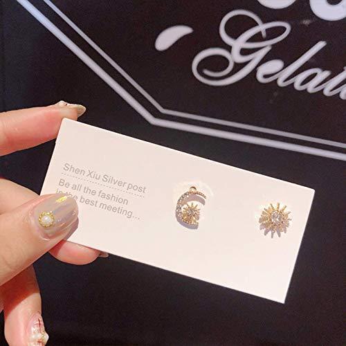 AQUALITYS Pendientes de botón de Destello de Diamantes de imitación Coreanos Exquisitos Pendientes de circonita Letra D para Mujer Accesorios de Regalo de joyería de Moda-Estrella de Oro y Luna