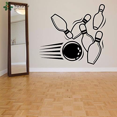 xinyouzhihi Wandtattoo Bowlingkugel Muster Soprt Wandaufkleber Moderne Mode Kunstwand Spielzimmer Spezielle Fenster Dekor Design 59x54cm
