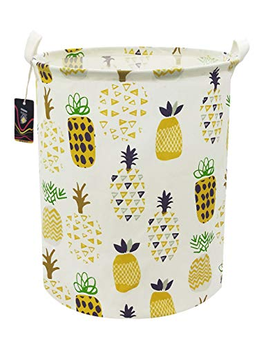 HKEC 197'' Waterproof Foldable Storage Bin Dirty Clothes Laundry Basket Canvas Organizer Basket for Laundry Hamper Toy Bins Gift Baskets Bedroom Clothes Baby HamperYellow Pineapple