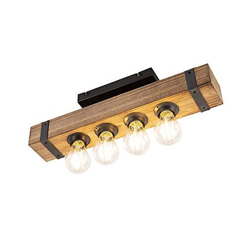 QAZQA Industrie/Industrial Industrielle Deckenleuchte/Deckenlampe/Lampe/Leuchte aus Holz - Reena/ 4-flammig/Innenbeleuchtung/Wohnzimmerlampe/Schlafzimmer/Küche/Stahl Länglich LED gee