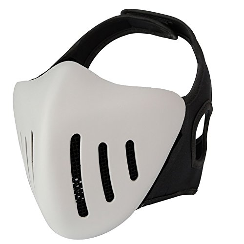 haoYK Tactical Softair Half Face Metall Mesh Cosplay Maske atmungsaktiv Schutz Schutz Militär Paintball Maske Woodland, weiß