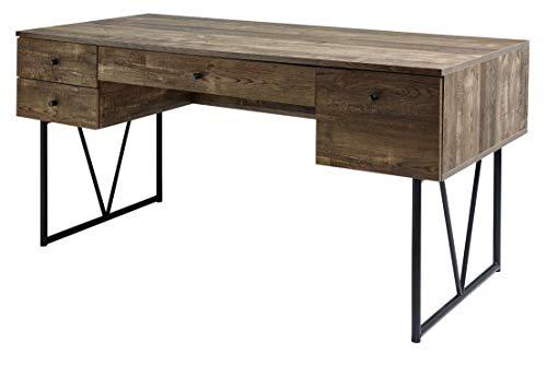 Amazon Marke -Movian Côa - Schreibtisch mit 4 Schubladen, 160x73x77,5cm, Dunkle Eiche Vintage-Effekt