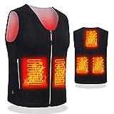 DOACE Heated Vest Men USB Electric Charging Jackets Women Heating Waistcoat (Battery Not Include) (V-Black, XL)