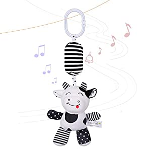 rolimate Baby Toy Cartoon Animal Stuffed Hanging Rattle Toys, Baby Bed Crib Car Seat Travel Stroller Soft Plush Toys with Wind Chimes, Best Birthday Gift for Newborn 0-18 Month