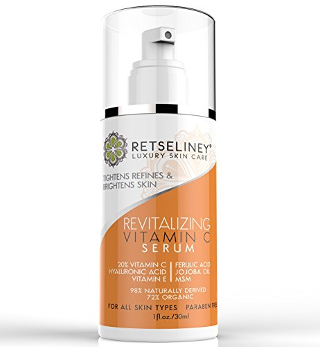 Retseliney Best Revitalizing Vitamin C Serum for Face, Anti Aging & Anti Wrinkle Serum, Repairs Sun Damage, Skin Discoloration, 20% C Serum for Skin & Eyes Plus Vegan Hyaluronic Acid & Vitamin E