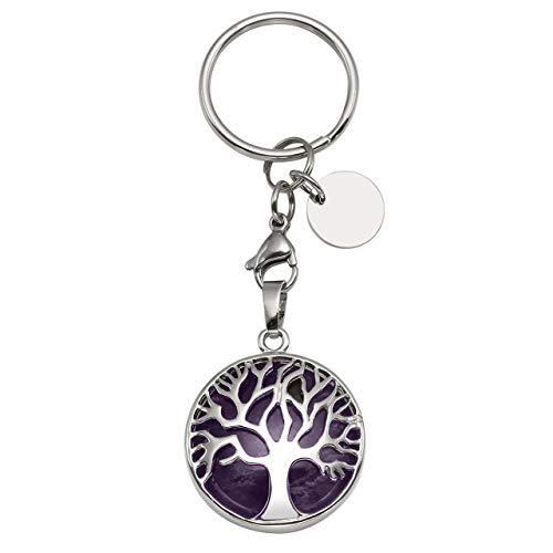 CrystalTears Schlüsselanhänger Natürlich Edelstein Lebensbaum Anhänger Chakra Heilsteine Reiki Schlüsselbund Keychain Dekoration Amethyst
