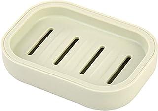Exquisite soap Box Soap Dish Holder/Soap Savers Dish Creative Thicken Double-Layer Plastic Soap soap Box Bathroom Laundry soap Toilet soap Holder 10.7 * 7.7cm, Green (Color : Beige)