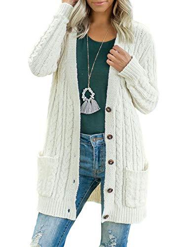 BMJL Strickjacke Damen Lang Offene Knöpfen Grobstrickjacke Cardigan Taschen Strickgewirk Pullover Mantel(groß,weiß)
