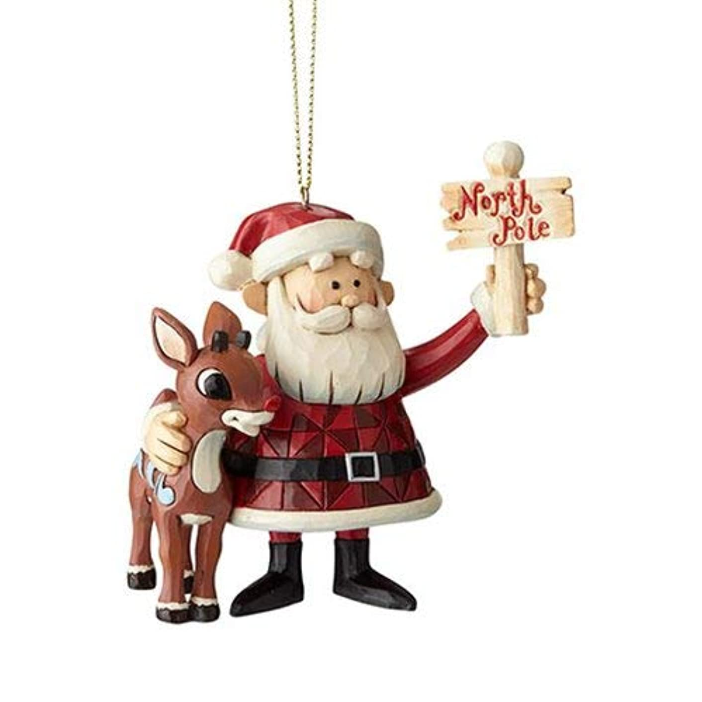 Enesco Rudolph The Red Nosed Reindeer by Jim Shore Santa North Pole Hanging Ornament, 3.7