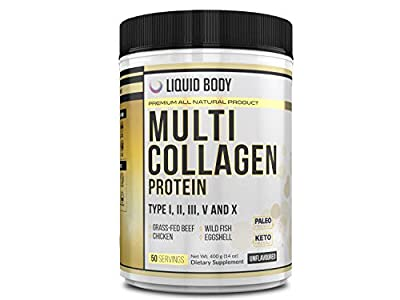 Multi Collagen Protein Powder - 5 Types of Food Sourced Collagen Peptides - Hydrolysed Grass Fed Bovine, Wild Caught Marine & Free-Range Chicken, Supports Joints, Skin and Nails, 400g tub, 50 servings from Liquid Body
