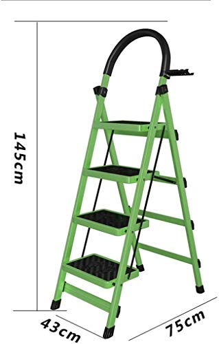 WYKDL Rango de Trabajo escalera con plataforma plegable del hogar taburete de paso ancho pedal robusto Escalera del Mango antideslizante espiga de escalera telescópica plegable General Perfil Escalera