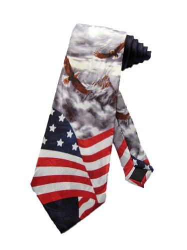 Steven Harris Cravate pour homme Men aigle américains sur un drapeau américain - gris - taille unique