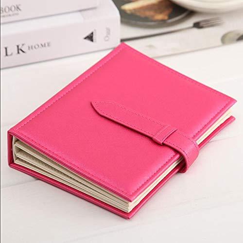 FEIYI Caja de almacenamiento para pendientes, organizador de pendientes, diseño de libro, portátil, para viajes, joyas, cosméticos, bolsa de almacenamiento (color: rosa rojo)