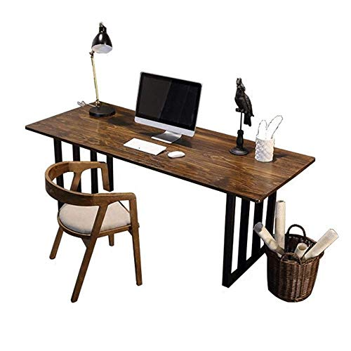 FTFTO Daily Equipment Computer Desk Retro Solid Wood Computer Desk Office Study Writing Desk Book Writing Desk Study Table Home Office Desks (Color : Wood Size : 120x60x75cm)