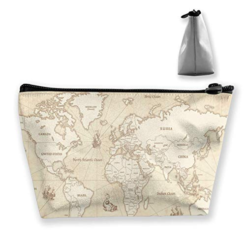 Womena € s Cosmetic Bag Old Parchment Retro World Country Map Makeup Bag Portable Toiletry Pouch Storage Pouch Storage Pouch