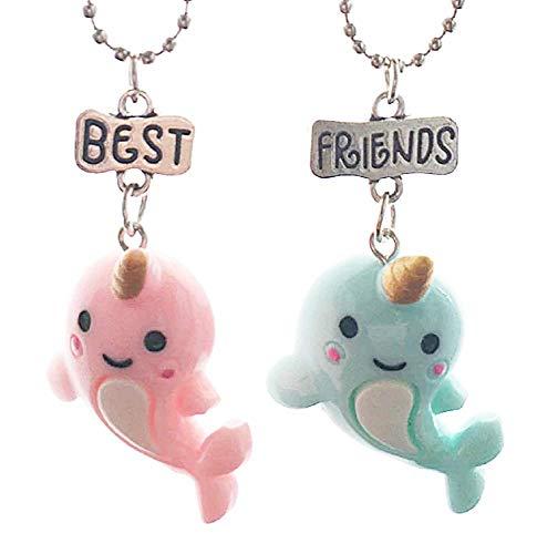 Lovelegis Due Collane da Bambina - Amicizia - Best Friends - Migliori Amiche per 2 - Kawaii X 2 - BFF - Coppia - Delfini - Unicorno - Natale - Pesci - Colore Rosa e Azzurro