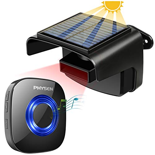 Solar Driveway Alarm,PHYSEN Wireless Driveway Security Alert System,1 Outdoor Weatherproof Rechargable Solar PIR Motion Sensor Detector & 1 Plug-in Receiver,650ft Range,58 Chimes,Fit for Home/Garage