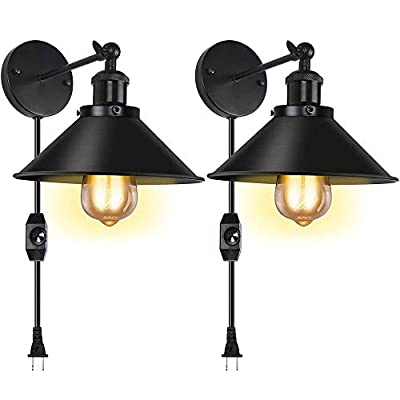 Plug in Wall Sconce Set of 2 Swing Arm Wall Lamp with UL Dimmable Switch Industrial Black Wall Lamp with Plug in Cord Wall Light Fixture for Restaurant Bedroom Corridor Farmhouse