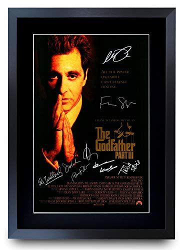 HWC Trading The Godfather Teil 3 The Cast Al Pacino Andy Garcia Geschenk, gedrucktes Poster mit Autogramm, gerahmt, A3