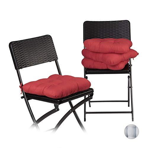 Relaxdays 10020805_47 Set 4 Cuscini per Sedia Imbottiti, Nastri, 40x40 cm, Casa e Giardino, Spessore 10 cm, Poliestere, Rosso