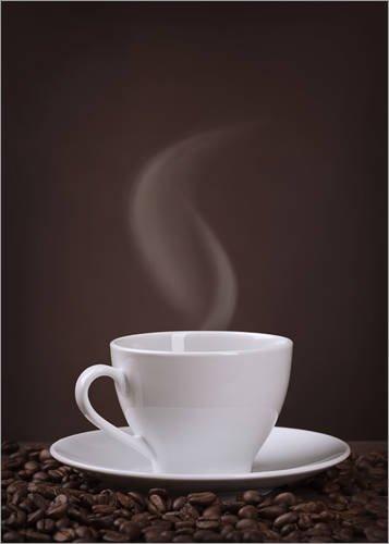 Posterlounge Leinwandbild 100 x 130 cm: Eine Tasse Kaffee von Elena Schweitzer - fertiges Wandbild, Bild auf Keilrahmen, Fertigbild auf echter Leinwand, Leinwanddruck