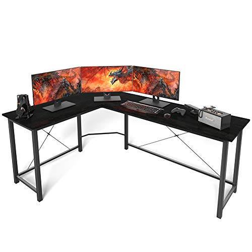 L Shaped Desk Corner Computer Desk Sturdy Computer Table Writing Desk Gaming Desk Workstation, Black