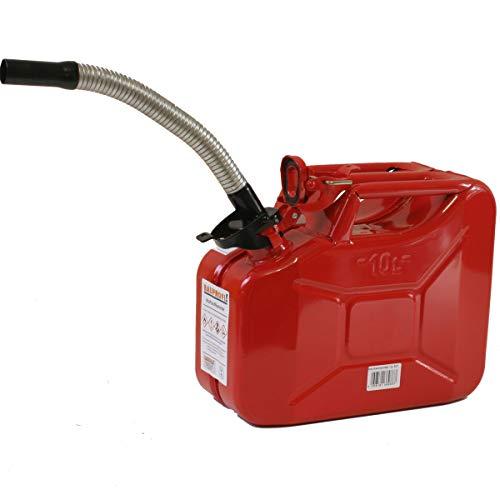 Stahlblechkanister rot 10 Liter + Dieselauslaufrohr Ø25mm flexibel Benzinkanister Kanister Set