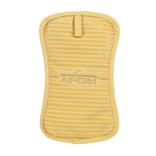 All Clad Textiles Deluxe Heat and Stain Resistant Pot Holder. Silicone Treated Heavyweight 100-Percent Cotton Twill Hot Pad, Machine Washable