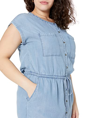 Amazon Brand - Daily Ritual Women's Tencel Short-Sleeve Utility Dress, Light Wash, 2