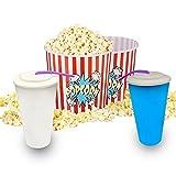 Set de 2 Bols Palomitas con 2 vasos - Pop Corn Bol - Kit de cine con Envases para Palomitas