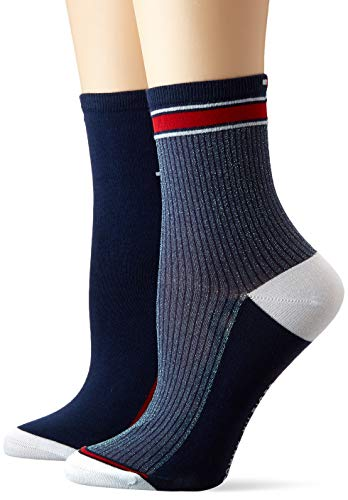 Tommy Hilfiger Damen TH Women Short 2P Translucent Socken, Mehrfarbig (Midnight Blue 014), (Herstellergröße: 35/38) (2er Pack)