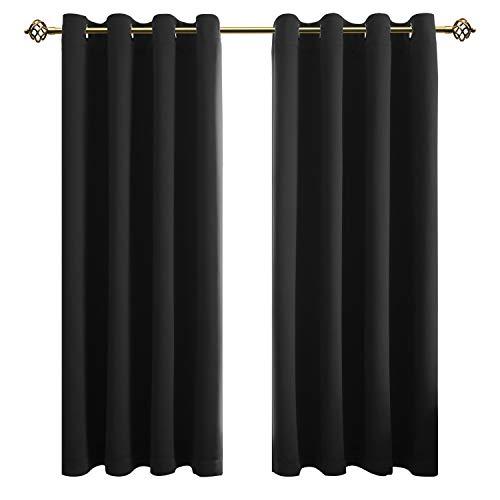 FLOWEROOM Blickdichte Gardinen Verdunkelungsvorhang - Lichtundurchlässige Vorhang mit Ösen für Schlafzimmer Geräuschreduzierung Schwarz 175x140cm(HxB), 2er Set