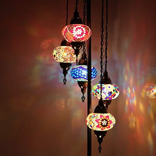 Hecho a mano, estilo Tiffany vidrio, turco/marroquí linterna otomana estilo mosaico lámpara de pie 5 globo grande