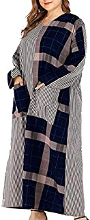 V-Neck Long-Sleeved Striped Geometric Mosaic Casual Dress (Color : Navy, Size : XXXXXL)