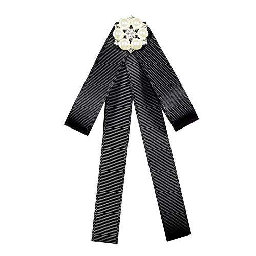 weichuang Brosche mit Schleife, Strass, Schleife, modische Stoffnadeln, Hemdkragen, Fliege, Brosche, Perlenkragennadel, niedlich für Frauen, Geschenk (Farbe: schwarz)