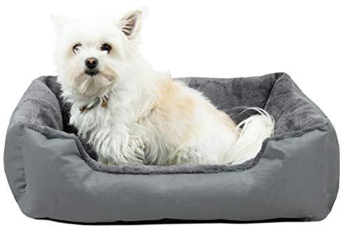 ZOLLNER Cama para Perros pequeños y Gatos, Aprox. 50x70x17 cm Lavable, Gris