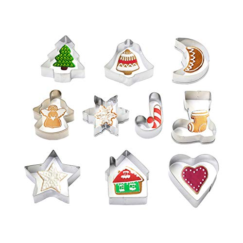 Olywee - Set di 10 formine per biscotti di Natale, motivo: albero di Natale, angelo, campana e altre forme, in acciaio INOX