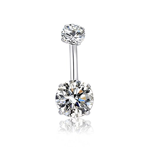 14G 316l Surgical Stainless Steel Belly Navel Button Rings with Dangling Sparkly AAA Cubic Zirconia, Screw Bar Design Body Piercing by HQLA (Clear)