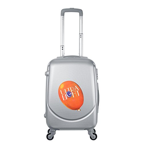 Light Weight 4 Wheel Suitcase 55x35x20 | Iata Approved Hand Luggage Cabin Bag | for Kids, Commuters (Silver)
