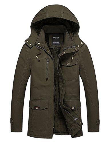 Menschwear Uomo Jacket Down Puffer Giacca Foderato di Pile Incappucciato Piumino (XL,Verde)