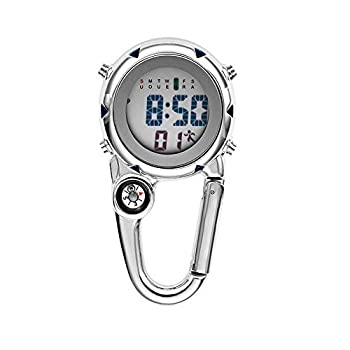 Clip on Digital Quartz Watch Backpack Fob Belt Waterproof and Shockproof Pocket Watch Glow in The Dark Unisex Pocket Watch with Compass Alarm Clock Date Week Gift for Outdoor Sports  White