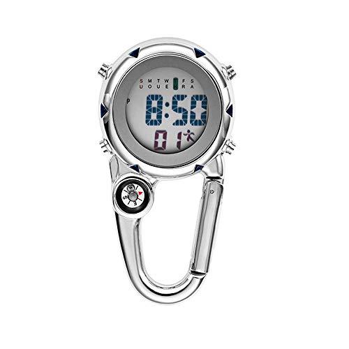 Clip on Digital Quartz Watch Backpack Fob Belt Waterproof and Shockproof Pocket Watch Glow in The Dark Unisex Pocket Watch with Compass Gift for Doctors Nurses Outdoor Activities