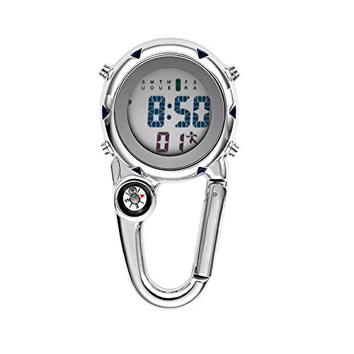 Clip on Digital Quartz Watch Backpack Fob Belt Waterproof and Shockproof Pocket Watch Glow in The Dark Unisex Pocket Watch with Compass Alarm Clock Date Week Gift for Doctors Nurses Outdoor Sports