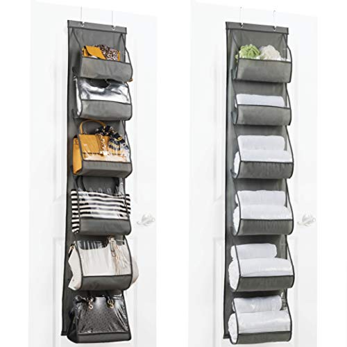 Over The Door Purse Organizer & Storage (2Pack) Handbag Organizer with 6 Easy Access Deep Pockets - Durable Metal Hooks, Handbag Organizer with Clear Pockets -Ideal for Scarf, Umbrella/Accessories Etc