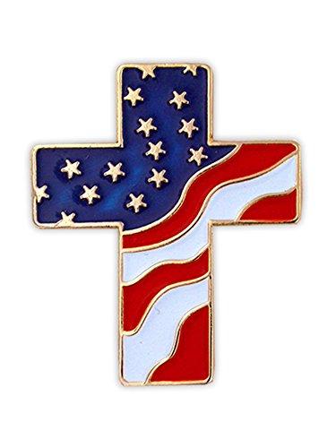 PinMart American Flag Patriotic Cross Religious Jewelry Enamel Lapel Pin