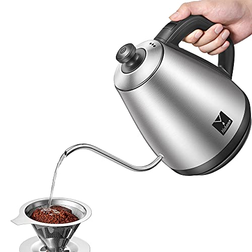Gooseneck Kettle, Variable Temperature Control, Pour Over Electric Kettle for Coffee and Tea, 100% Stainless Steel Inner, 1000W Quick Boiling, 1.0L, Keep Warm, Supplied with Pour Over Coffee Dripper