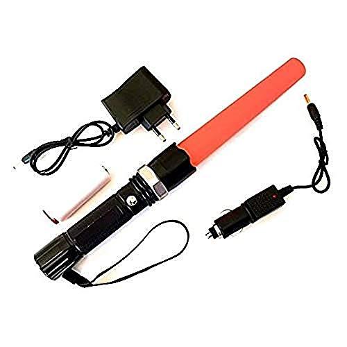 EUROXANTY® Linterna LED recargable alta potencia SOS | Alta calidad y fiabilidad | Linterna para dirigir el tráfico | Cono pirulo color naranja