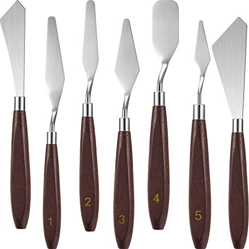7 Pieces Painting Knife Set Spatula Palette Knife Stainless Steel Painting Mixing Scraper Oil Painting Accessories with Wood Handle for Art and Paint Color Mixing Acrylic Mixing Supplies