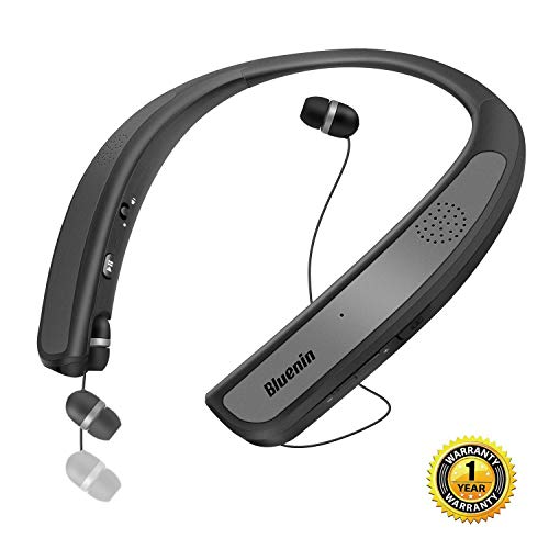 Bluetooth Headphones Speaker 2 in 1,Bluenin Neckband Wireless Headset Wearable Speaker True 3D Stereo Sound Sweatproof Headphones with Retractable Earbuds Built-in Microphone (Titanium Gray)